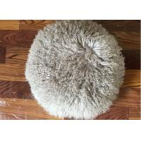 Best Long Hair Round Mongolian Fur Pillow Light Grey Smooth With Shearling Sheep Fur Lining wholesale