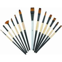 Best Brown Round Tip Paint Brush , Acrylic Paint Brushes For Beginners Brass Ferrule wholesale
