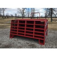 Best Red Power Coated Corral Fence Panel Vertical Post 50X50MM  With Panel Size  6FT x 12 ft wholesale