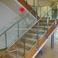 Cheap Double Stringer Straight Staircase with Post Glass Railing and Satin s.s and for sale