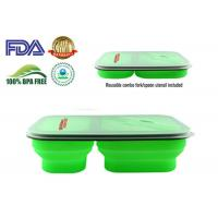 Best 900 ML Protable Green Tow Compartment Collapsible Silicone Food Containers wholesale