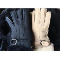 Best Black Thick Fur Warmest Sheepskin Gloves With Lambswool Lining Waterproof wholesale