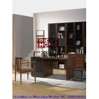 Best 2016 New Nordic Design Study room Furniture by Walnut wood Office Desk with Armchair and in Wall Bookcase Cabinet wholesale