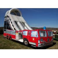 Best Firetruck Printed Inflatable Bouncy Slide 9mx4m High Stress Reinforced Points wholesale