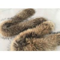 Best Brown Real Raccoon Fur Collar Trim Anti Shrink Warm For Women Winter Coat wholesale