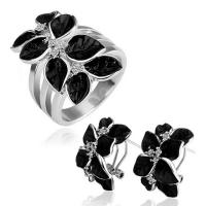 Best Black rose flower Costume Jewelry Set wholesale