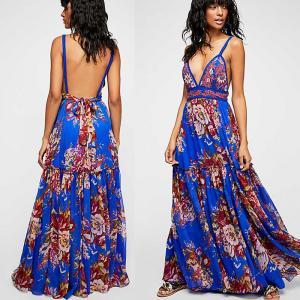 China 2018 Summer Women Sexy Maxi Dress Backless Fashion Casual Beautiful Kaftan Dress Strap on sale