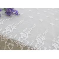 Best Embroidered Edge Fabric White Floral Lace Vine Netting Tulle For Bridal Gowns wholesale