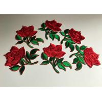 Best Flower Embroidered Iron On Appliques , Large Red Rose Floral Patches For Clothes wholesale