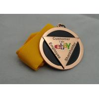 Best Die Casting Ribbon Medals with Imitation Hard Enamel, Copper Plating And Gold Plating, 2 Levels wholesale