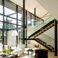 Cheap 304 s.s Double Steel Stringer Straight Glass Railing Staircase with Wooden Tread for sale