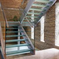 Cheap Modern L-shape Wood Staircase Design / Internal Used Glass Railing Wood Stairs for sale