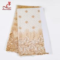 Buy cheap Multi Color Tulle Mesh Embroidered Beaded Lace Fabric Light And Transparent from wholesalers