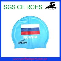Best National flag silicone swimming cap for adult wholesale