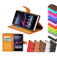 Best Leather Wallet Stand Sony Ericsson Phone Case With Photo Slot ,  Xperia z1 Cover wholesale