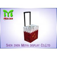 Best Foldable Corrugated Material Advertising Carton Trolley With Retractable Handle And Wheels wholesale