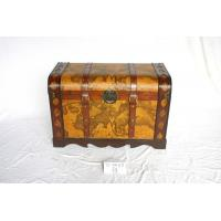 Best wooden trunk deco with world map leather wholesale