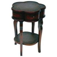 Best Flower Shape Side Table with Hand-Painted Design and Rattan Top wholesale