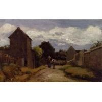 Impressionist(3830) Male_and_Female_Peasants_on_a_Path_Crossing_the_Countryside