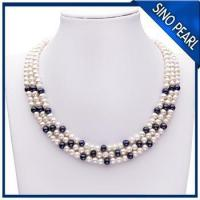 Best A 5-6MM / 6-7MM 18Inch Three Strands Natural Fresh Water Pearl Necklace PN004 wholesale
