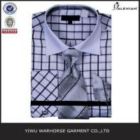 Best classic white and black plaid check french cuff men shirt wholesale