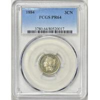 1884 Nickel Three-Cent Piece PCGS Proof-64