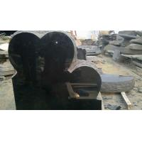 Quality Double hearts black memorial stone wholesale