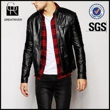 Cheap Leather Quilted Detail Biker Jacket for sale