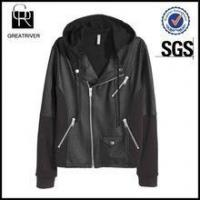 Best Biker jacket in coated jersey with a lined drawstring hood wholesale