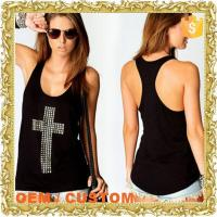 black cross rhinstone ladies stringer tank top wholesale