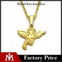 Simple design stainless steel gold pendant jewelry angel wing necklace for women