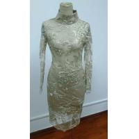 Quality SH-265 Long sleeve sequine lace dress with high collar wholesale