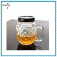 Best Round Pineapple Shaped Glass Clear Bottle WIth Plastic Lid Mason Jar wholesale