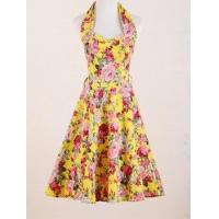 Best pin up retro design wholesale yellow floral prom dress 2016 manufacturer from China wholesale