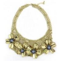 Best New style women female fashion newest design flower gold alloy necklace wholesale