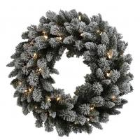 "Flocked slight 30"" Wreath"