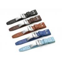 China 22mm Croco Grain Genuine Leather Watch Band Rivet Deployant Strap For IWC Big Pilot on sale