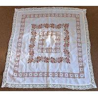 Best Vintage hand embroidered linen tablecloth 89x87cm flowers cross stitch wholesale