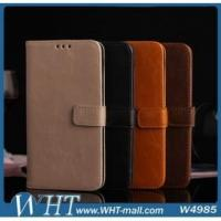 Best 3 Card Slots Crazy Horse Skin Leather Wallet Case for Samsung Galaxy S5 i9600 wholesale