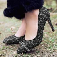 China Shoespie Sequined Low Heel D'orsay Heels on sale