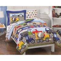 Blue Comforter Dream Factory Trucks Tractors Cars Boys 5-Piece Comforter Sheet Set, Blue Red, Twin