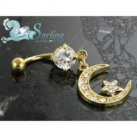Buy cheap 18k Gold Plated Crystal Dangle Moon & Star Charm Belly Navel Ring from wholesalers