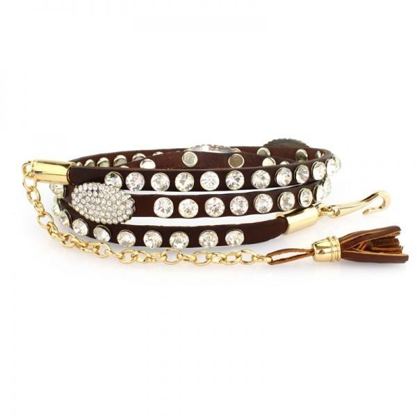 Cheap Decorate tassels brown color metal belt for sale