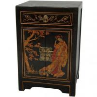 China Fine Lacquer Furniture Black Lacquer End Table Cabinet on sale