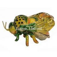 TBP0236-bee insect trinket box enameled decor craft