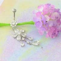 China BR01780 Wholesale Navel Piercing Body Jewelry Fashion Crystal Flower Dangle belly Button Rings on sale