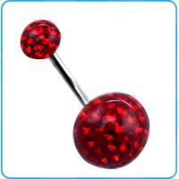China BR01418 316L Surgical Steel Red Epoxy Crystal Ball Navel Belly Rings 14g on sale