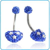 Best BR01746 Fashion Designed Heart Shaped Blue Crystals and White Stars Belly Button Rings Body Jewelry wholesale