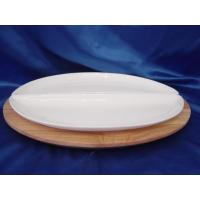 China Porcelain plate Ceramic Plate with Bamboo/Wood Base on sale