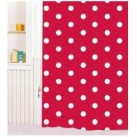 China Vinyl Shower Curtains White Dot Red PVC Shower Curtain Y2603 on sale